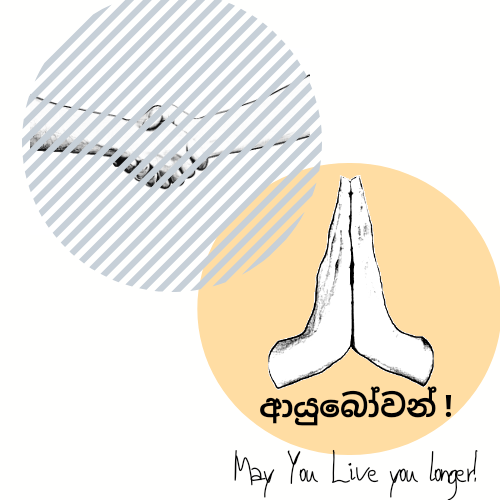 Cartoon hands have their hands pressed together as though they are praying. It represents Ayubowan, the Srilankan way of greeting