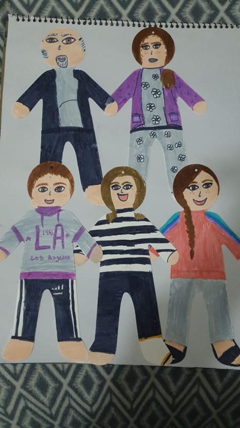 Illustration of family of 5