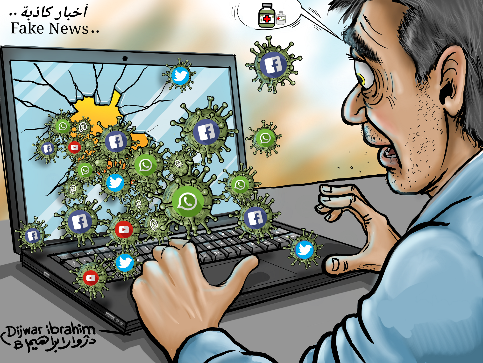 Cartoon image of a man on his laptop, afraid by all the different news announcements and fear induced by the pandemic