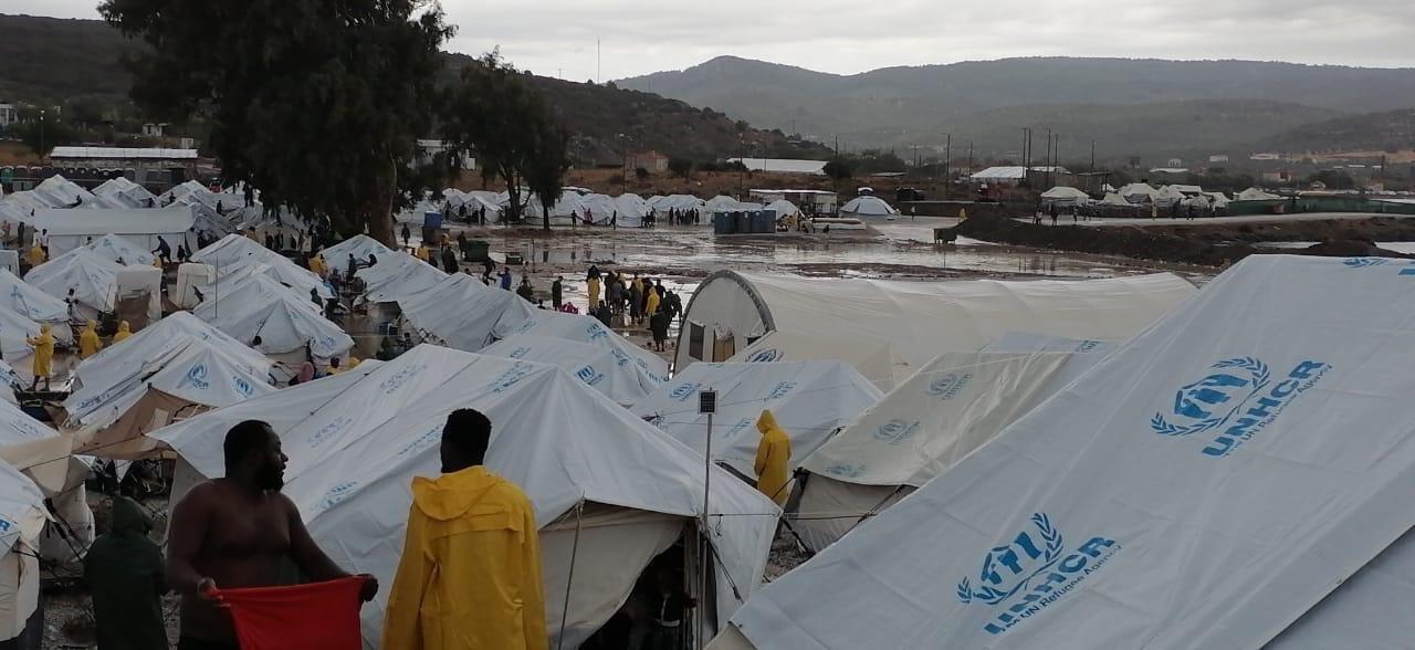 New refugee camp on Lesvos flooded