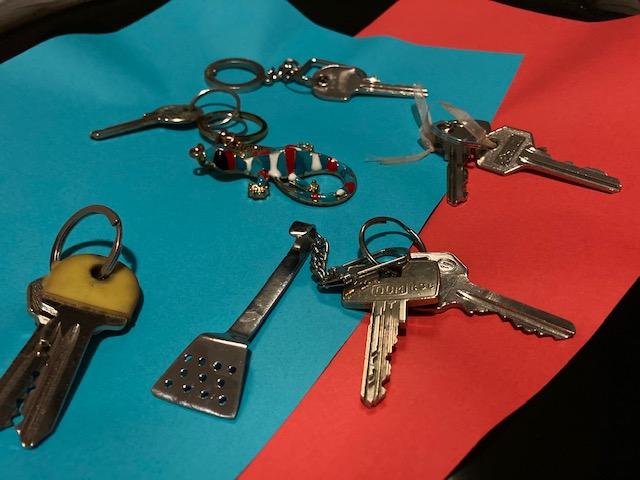 Keys lie on a table