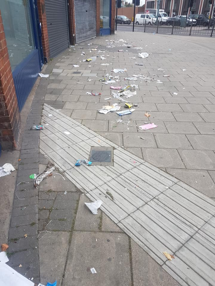 Litter on a street in London