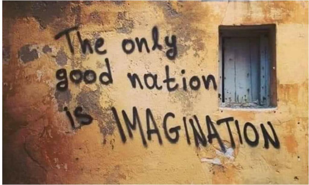 Grafitti on a wall reads