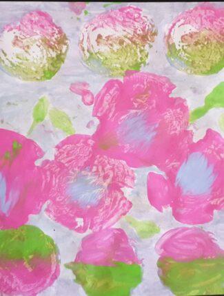 Pink flowers block print