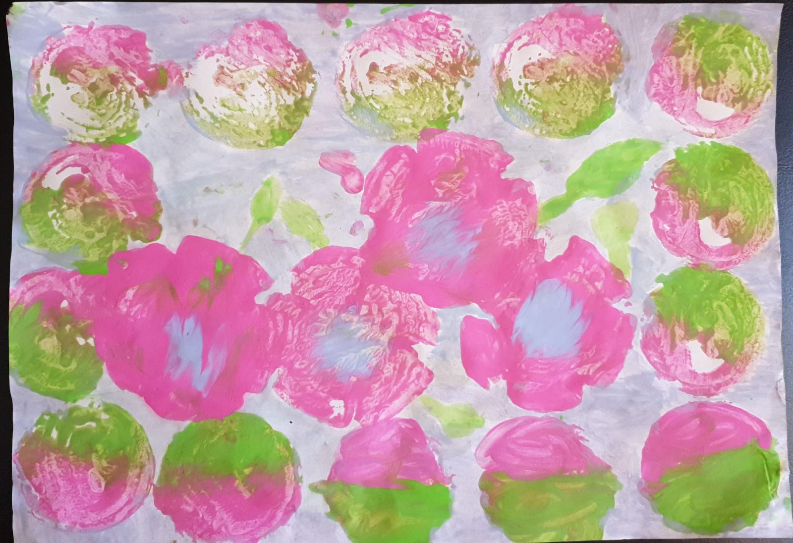 Pretty pink and blue flower prints