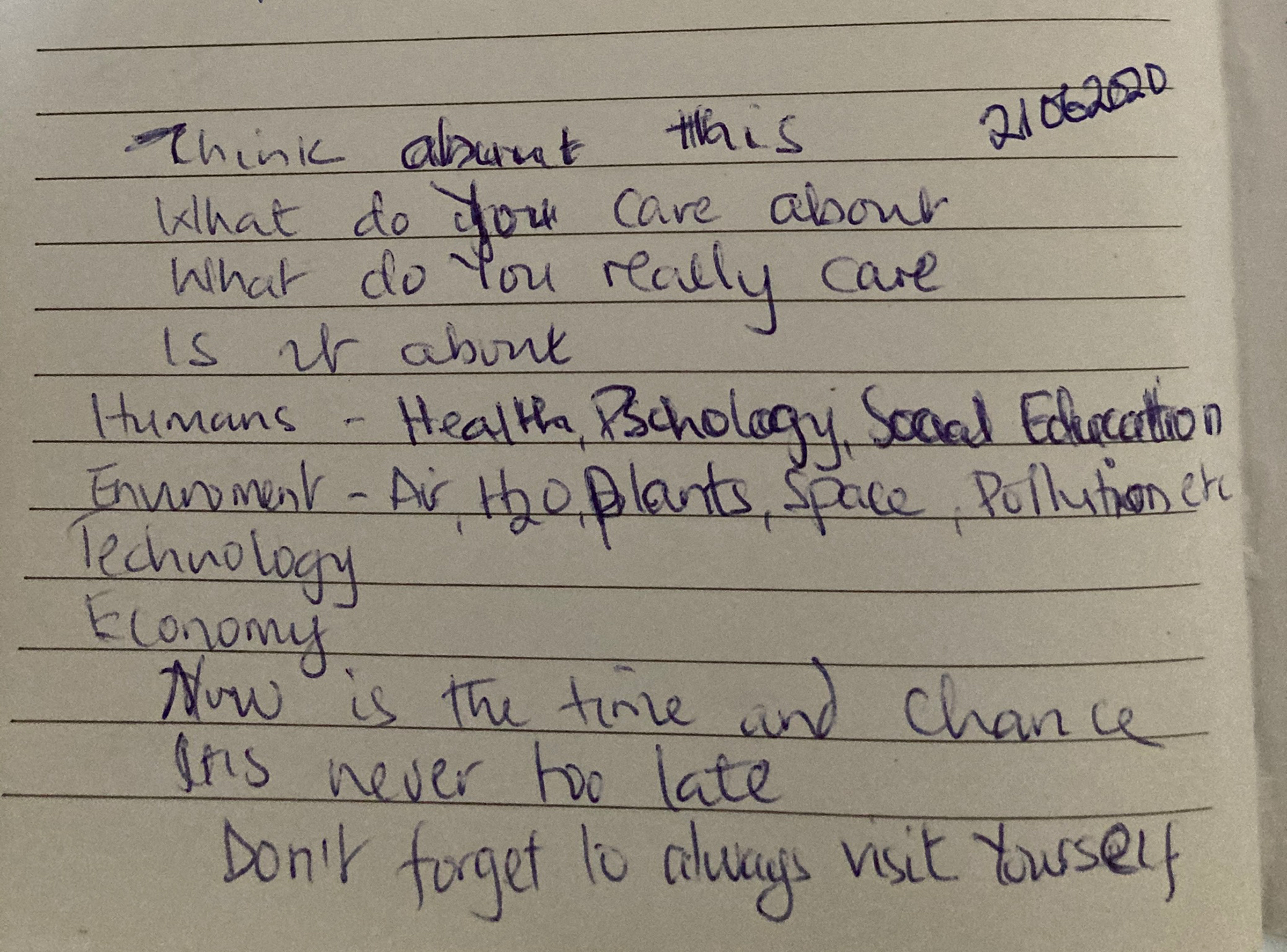 Photo of hand-written diary entry by Vicky