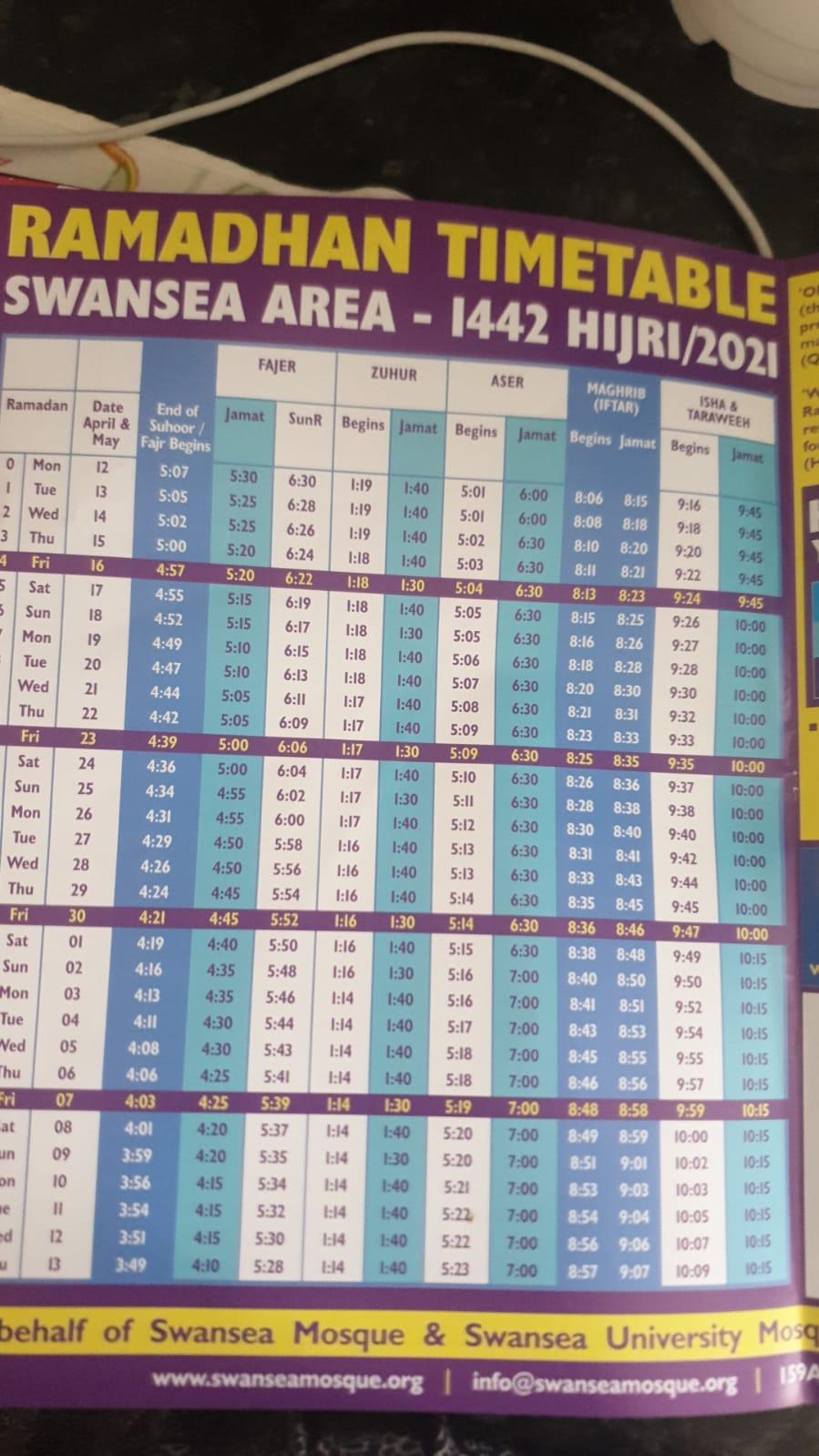 Ramadan prayer and breaking fast schedule