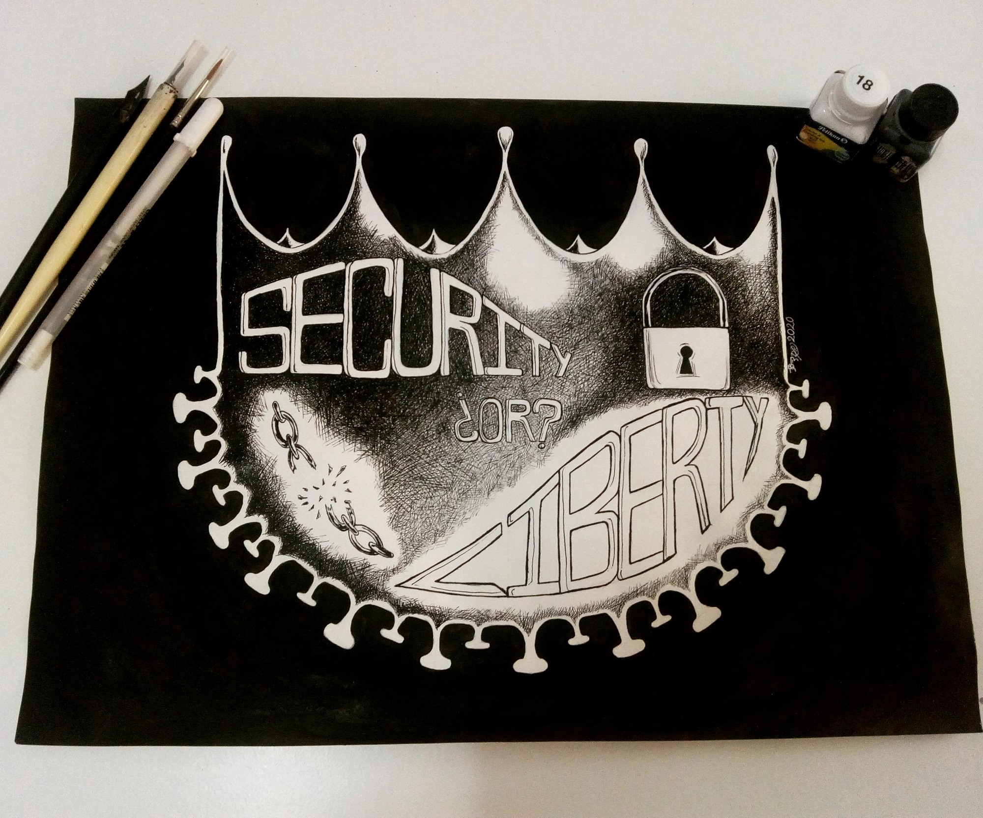 A drawing of a crown