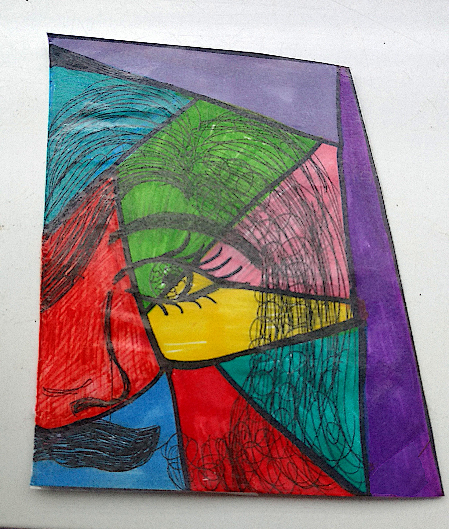 A colourful, block image produced by Ruth