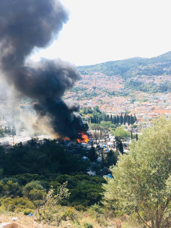 Fire at Samos refugee camp, Greece, May 2020