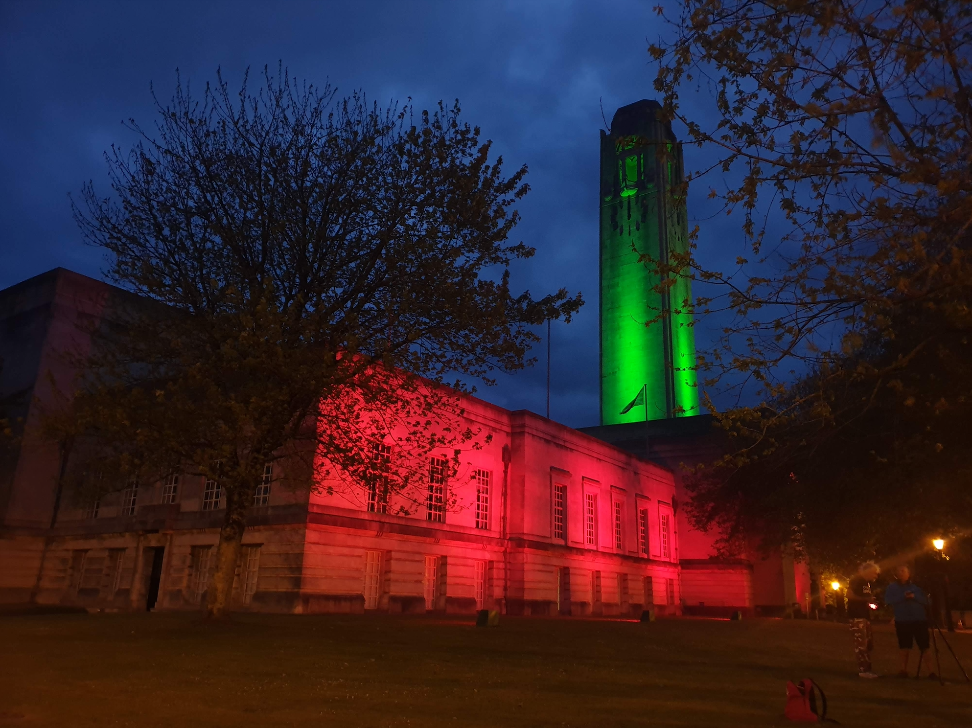 Guildhall lit up for Swansea City of Sanctuary