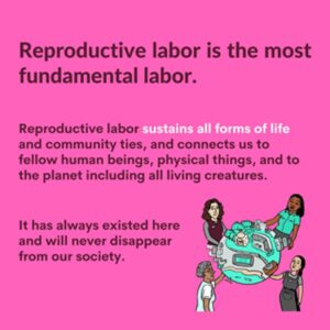 Jack, an undocumented domestic worker living in The Hague, speaks about The Center for Reproductive Labour, with a quote by founder Sakiko Sugawa, alongside a series of graphics created by the group
