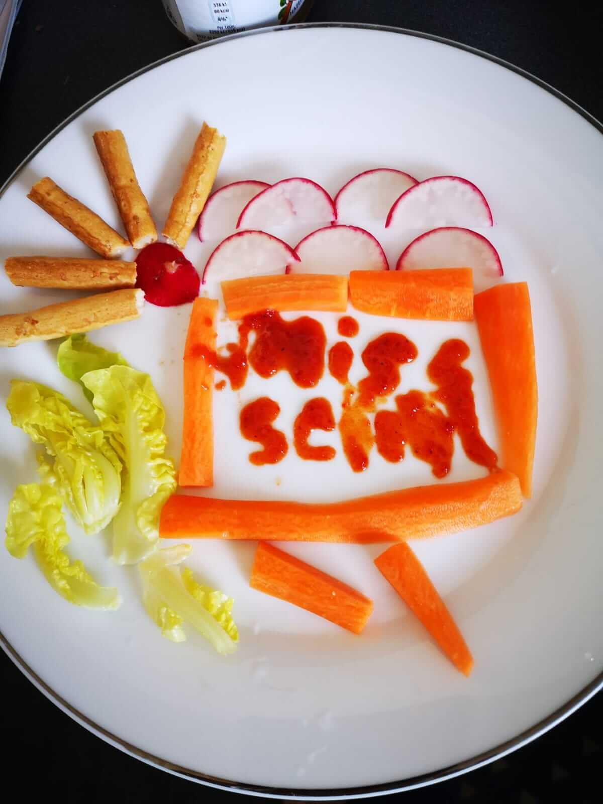 Two boys enjoy being creative with food during lockdown in Wales
