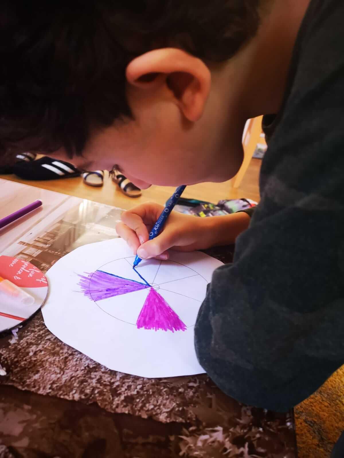 Two boys explore craft under lockdown.